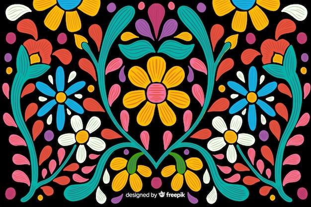 刺繍メキシコ花の背景 無料ベクター