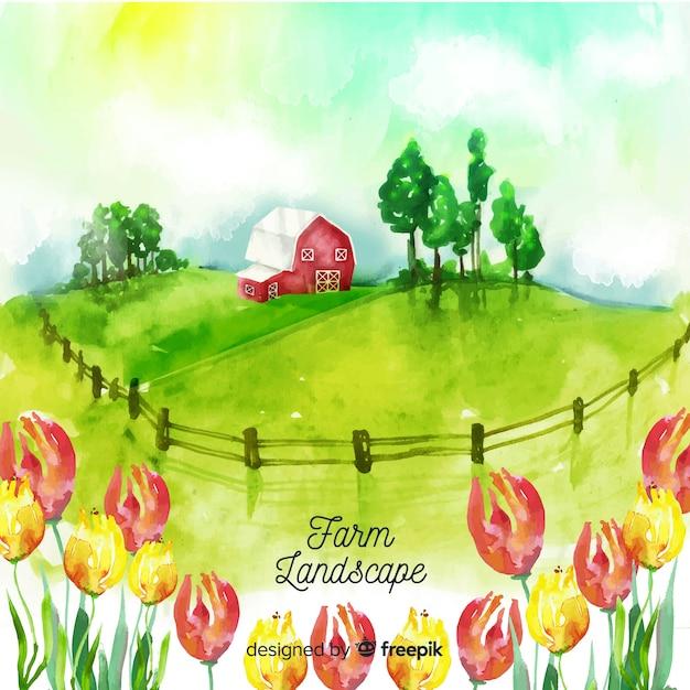 水彩風の農場風景 無料ベクター