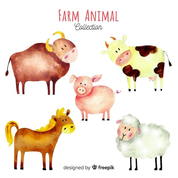 Коллекция сельскохозяйственных животных в стиле акварели Бесплатные векторы