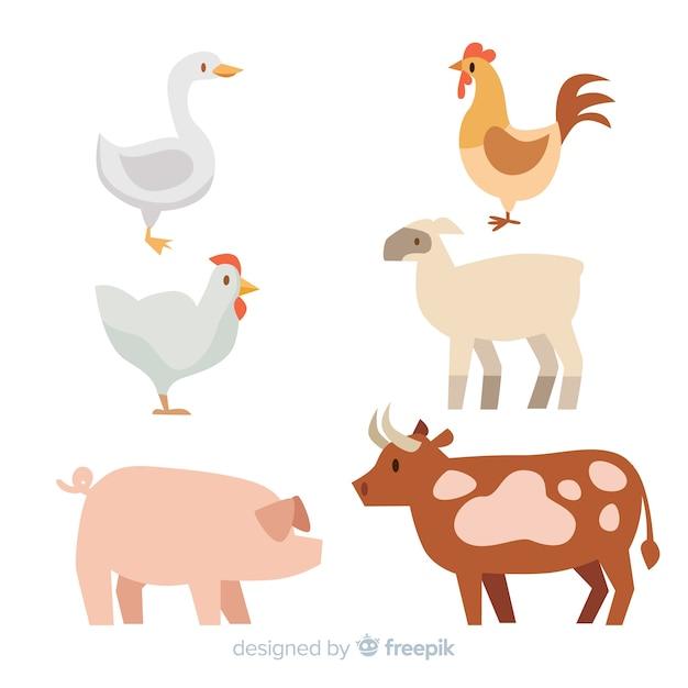 Коллекция сельскохозяйственных животных Бесплатные векторы