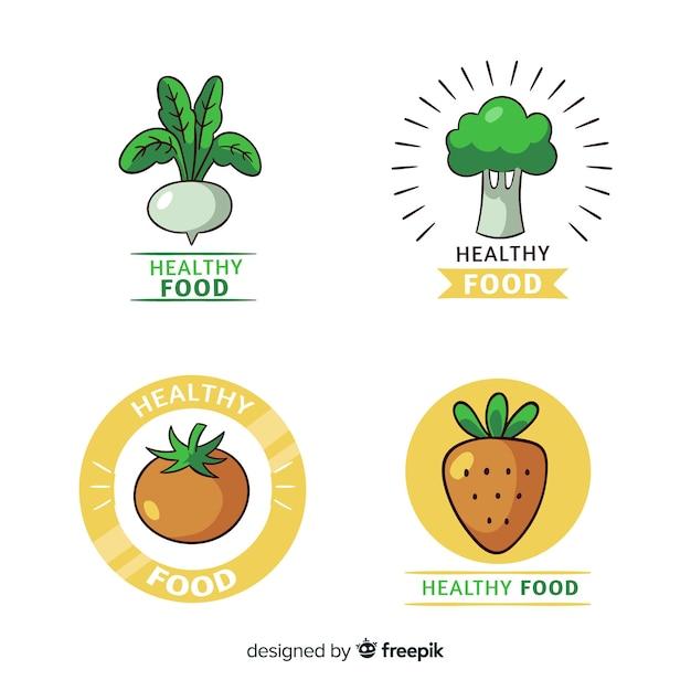 Коллекция логотипов здоровой пищи Бесплатные векторы
