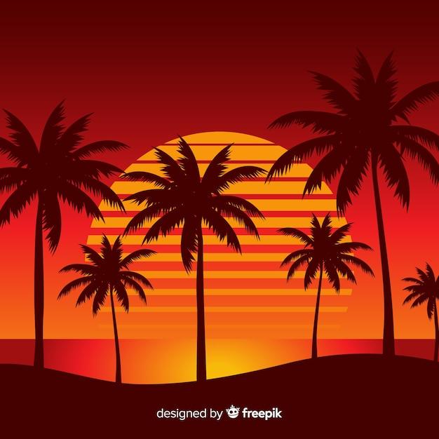 Пляж закат пейзажный фон Бесплатные векторы