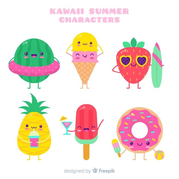 かわいい夏のキャラクターコレクション 無料ベクター