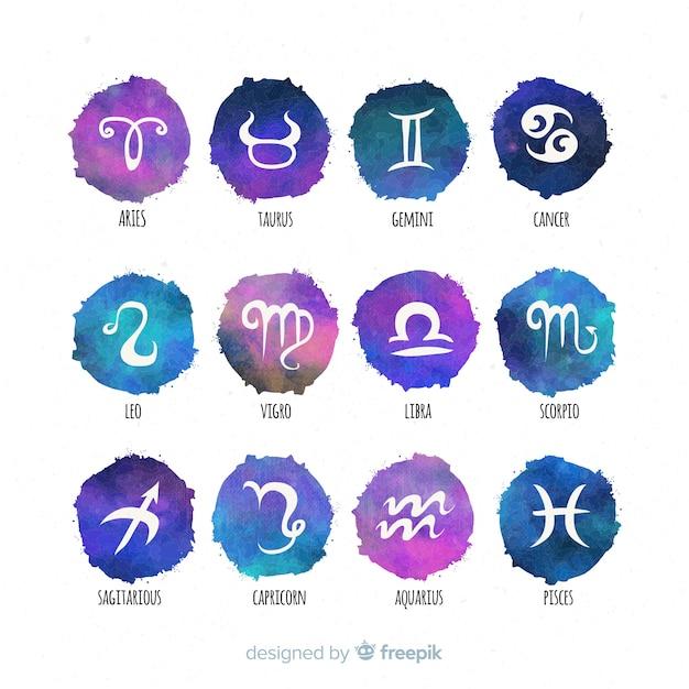 Акварель градиентный знак зодиака Бесплатные векторы