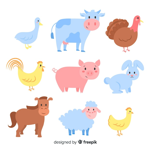 農場の動物コレクション 無料ベクター