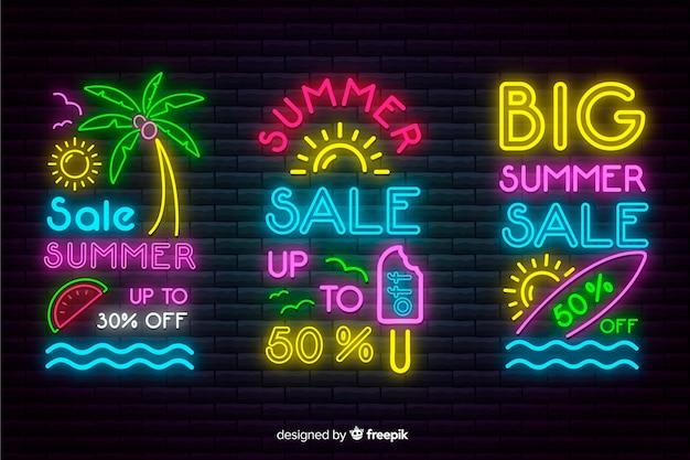 Неоновые летние распродажи баннеров Бесплатные векторы