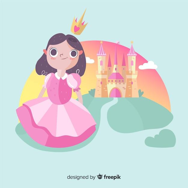 Ручной обращается брюнетка принцесса с портретом замка Бесплатные векторы