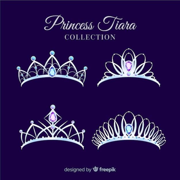 Плоская серебряная коллекция принцессы тиары Бесплатные векторы