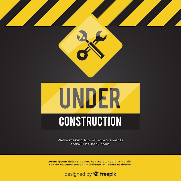現実的な工事標識背景の下で 無料ベクター