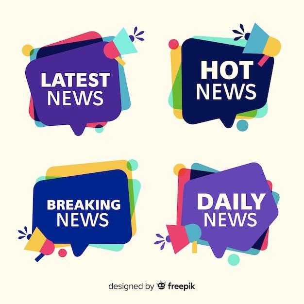 Коллекция красочных новостных баннеров Бесплатные векторы