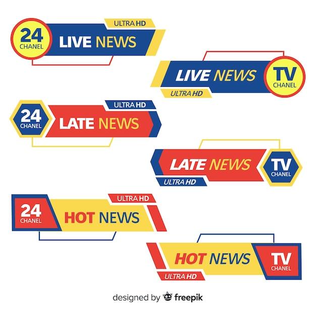 カラフルな最新ニュースバナーコレクション 無料ベクター