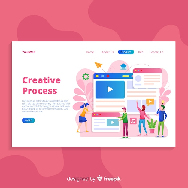 手描きクリエイティブプロセスのランディングページ 無料ベクター
