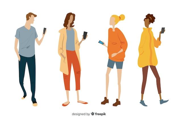 スマートフォンを持っている手描き下ろし若者 無料ベクター