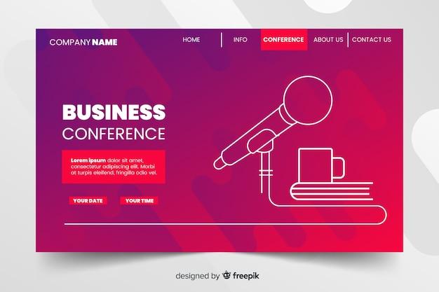 Целевая страница абстрактной бизнес-конференции Бесплатные векторы