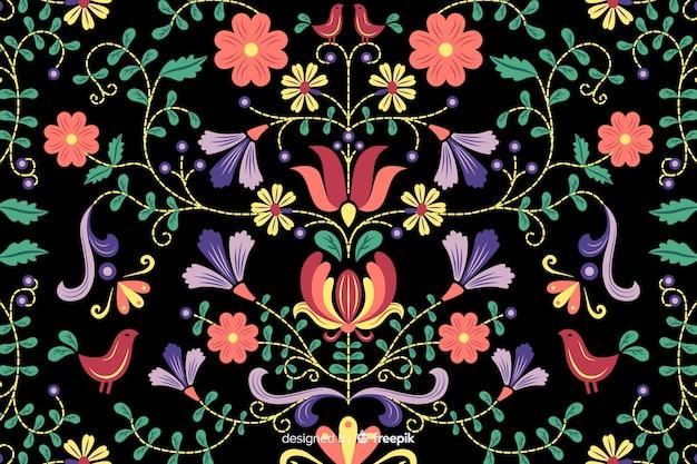メキシコの花刺繍の背景 無料ベクター