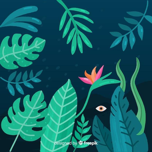 手描きの熱帯の背景 無料ベクター