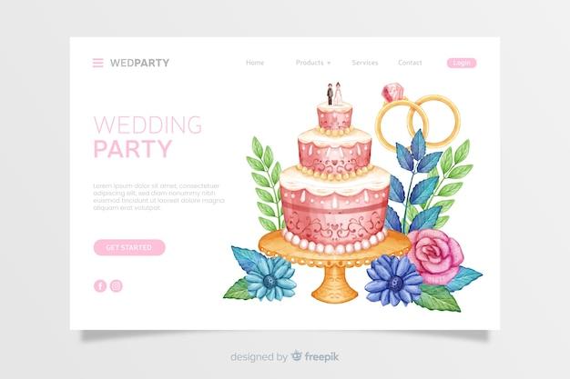 Акварельная свадебная целевая страница Бесплатные векторы
