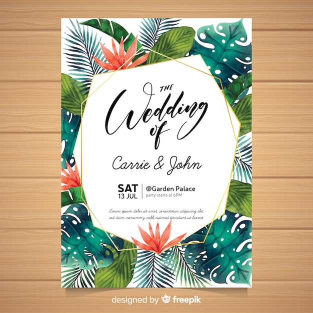 水彩の熱帯結婚式の招待状 無料ベクター