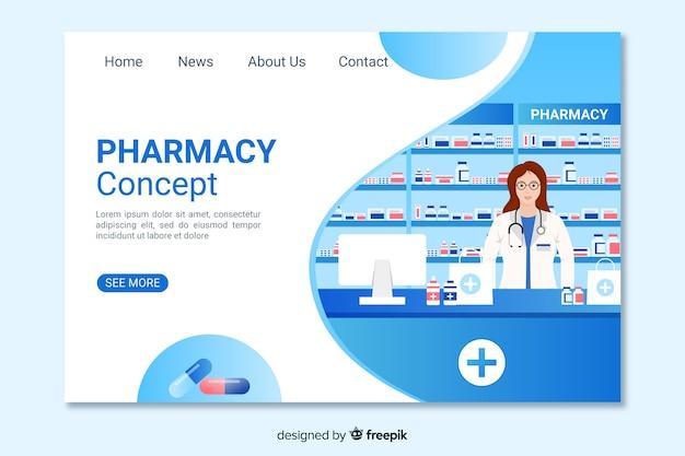 Синяя аптечная целевая страница Бесплатные векторы