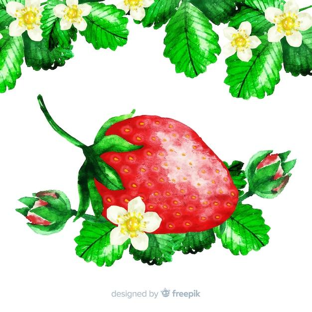 水彩イチゴ 無料ベクター