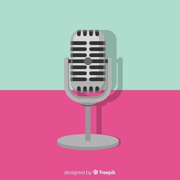 Плоский ретро фон микрофона Бесплатные векторы