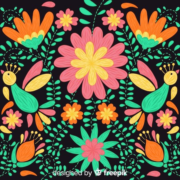 Красочная вышивка мексиканский цветочный фон Бесплатные векторы