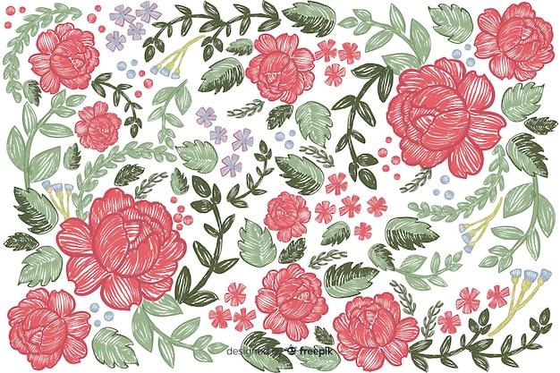 カラフルな刺繍花の背景 無料ベクター