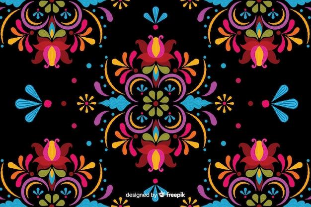 Красочная вышивка цветочный фон Бесплатные векторы