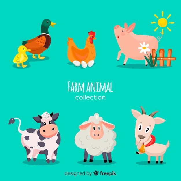 フラット農場の動物コレクション 無料ベクター