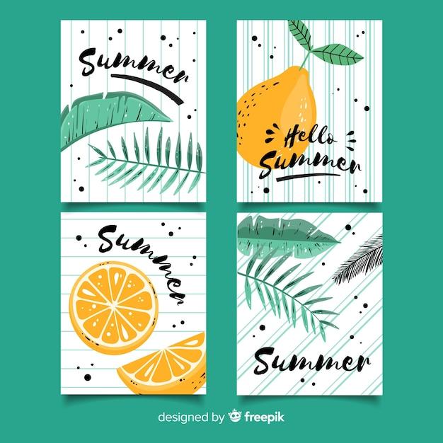 手描き夏カードコレクション 無料ベクター