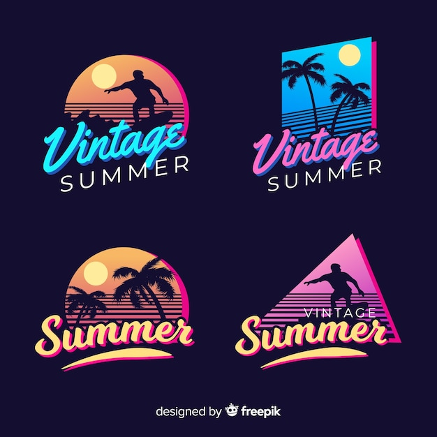 Коллекция винтажных плоских летних этикеток Бесплатные векторы