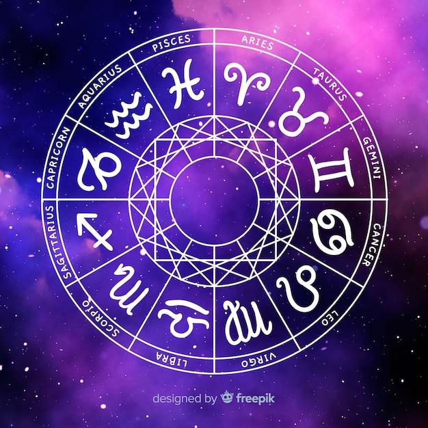 Колесо зодиака на космическом фоне Бесплатные векторы