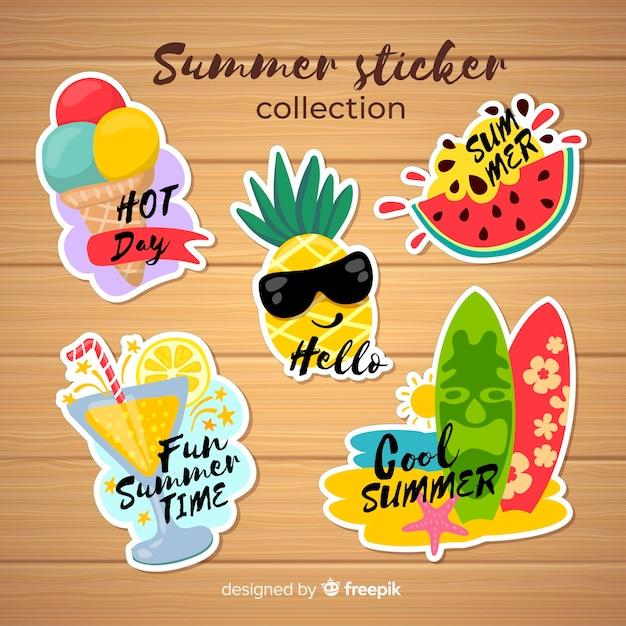 Коллекция красочных летних стикеров Бесплатные векторы