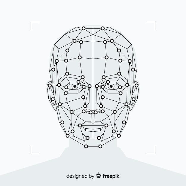 抽象的な平らな顔認識の背景 無料ベクター