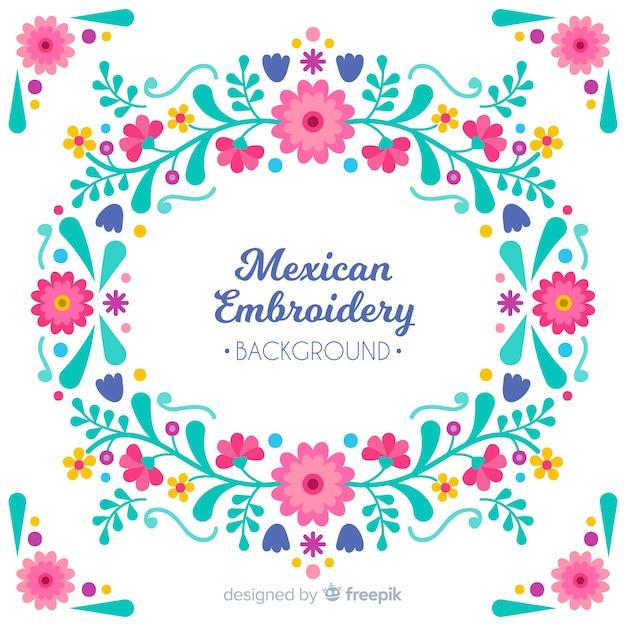 メキシコ刺繍花の背景 無料ベクター