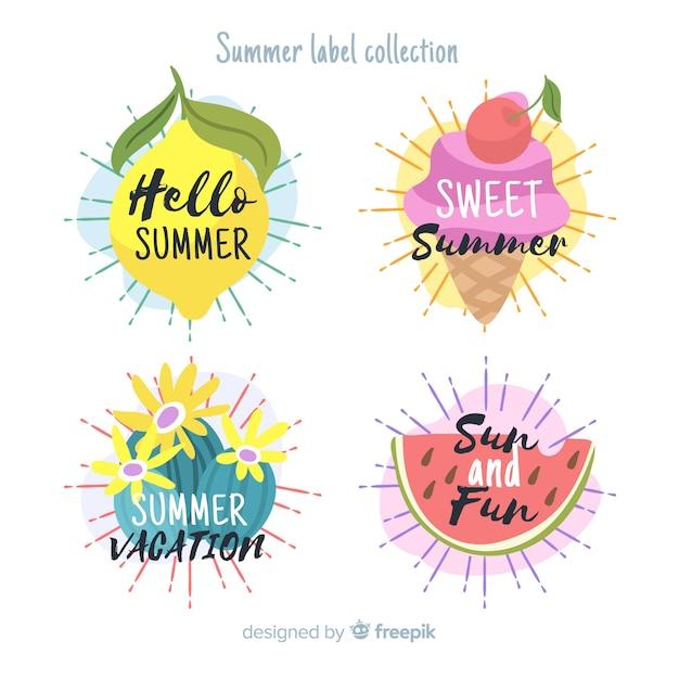 夏のラベルコレクション 無料ベクター