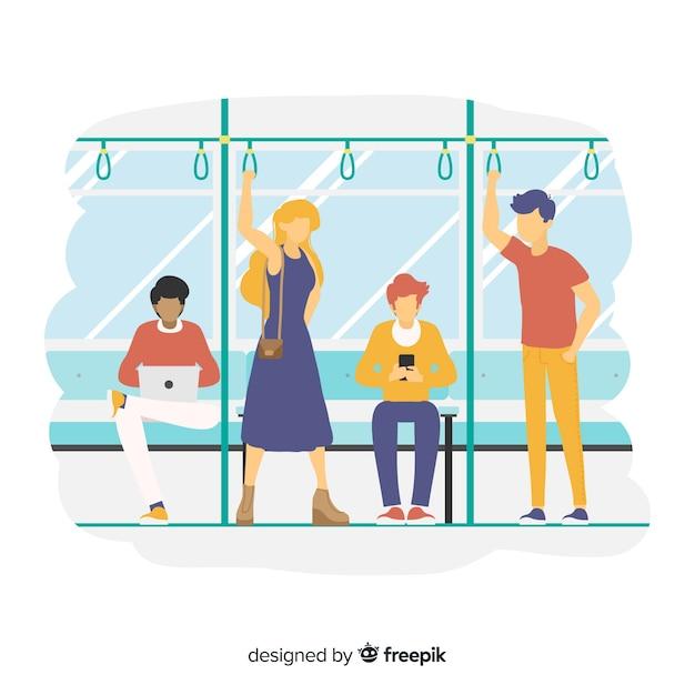 地下鉄の人々 無料ベクター