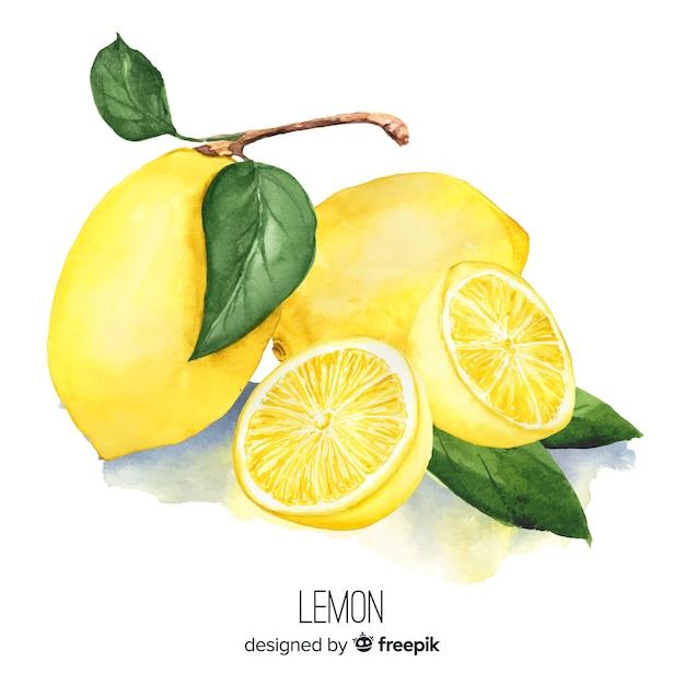 水彩のリアルなレモンの背景 無料ベクター