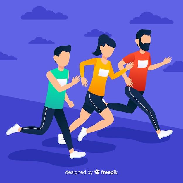マラソンレースをしている人 無料ベクター