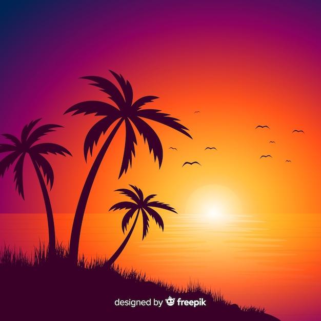 Градиент пляжный закат пейзаж Бесплатные векторы