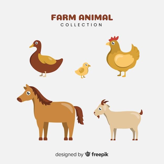 Плоская коллекция сельскохозяйственных животных Бесплатные векторы