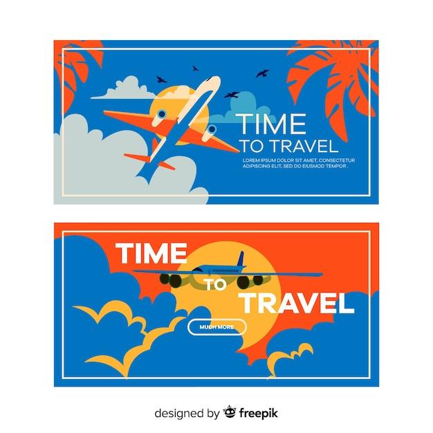 Плоский туристический баннер Бесплатные векторы