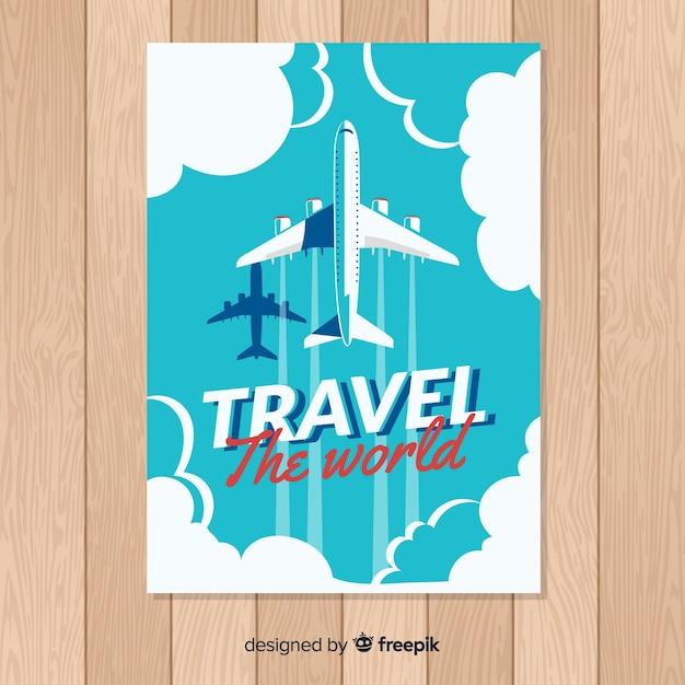 Плоский винтажный туристический плакат Бесплатные векторы