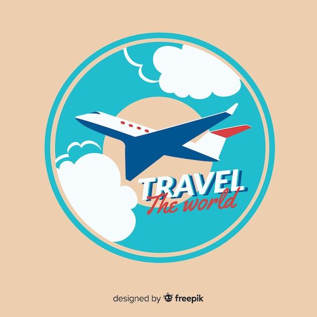 Плоский винтажный логотип путешествия Бесплатные векторы
