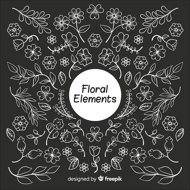 手描きの無色の花の装飾的な要素 無料ベクター