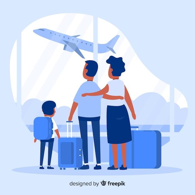 Плоское семейное путешествие Бесплатные векторы