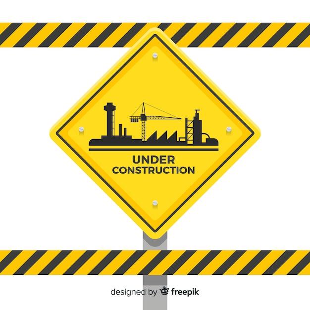 フラット警告工事サインの背景 無料ベクター