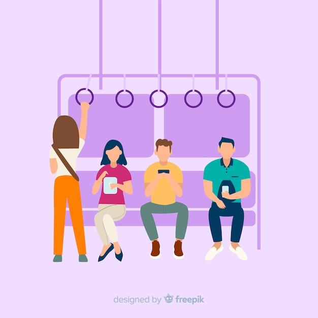 Люди на фоне метро Бесплатные векторы