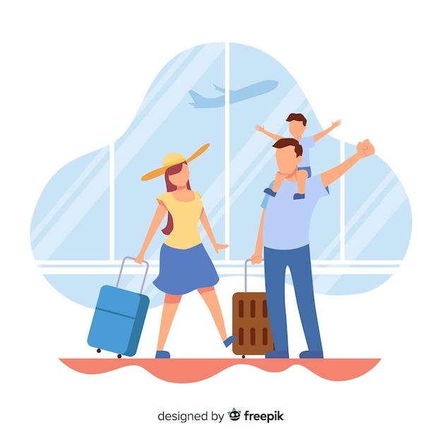 Плоский семейный путешествующий фон Бесплатные векторы