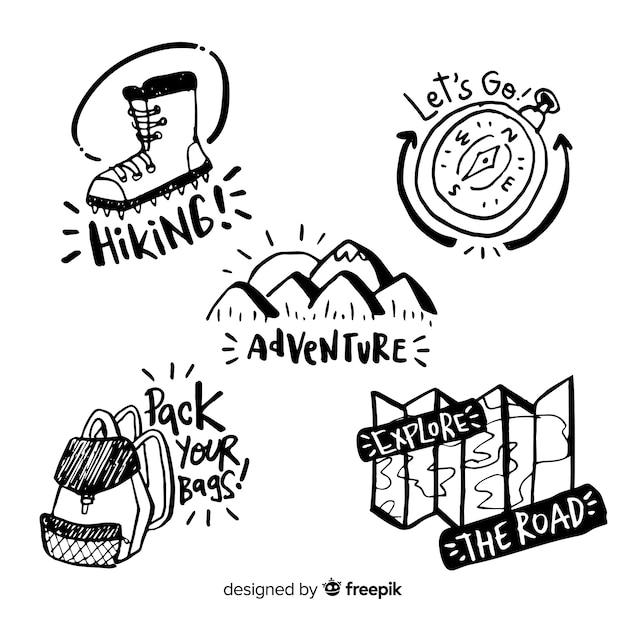 Коллекция рисованной приключений логотип Бесплатные векторы
